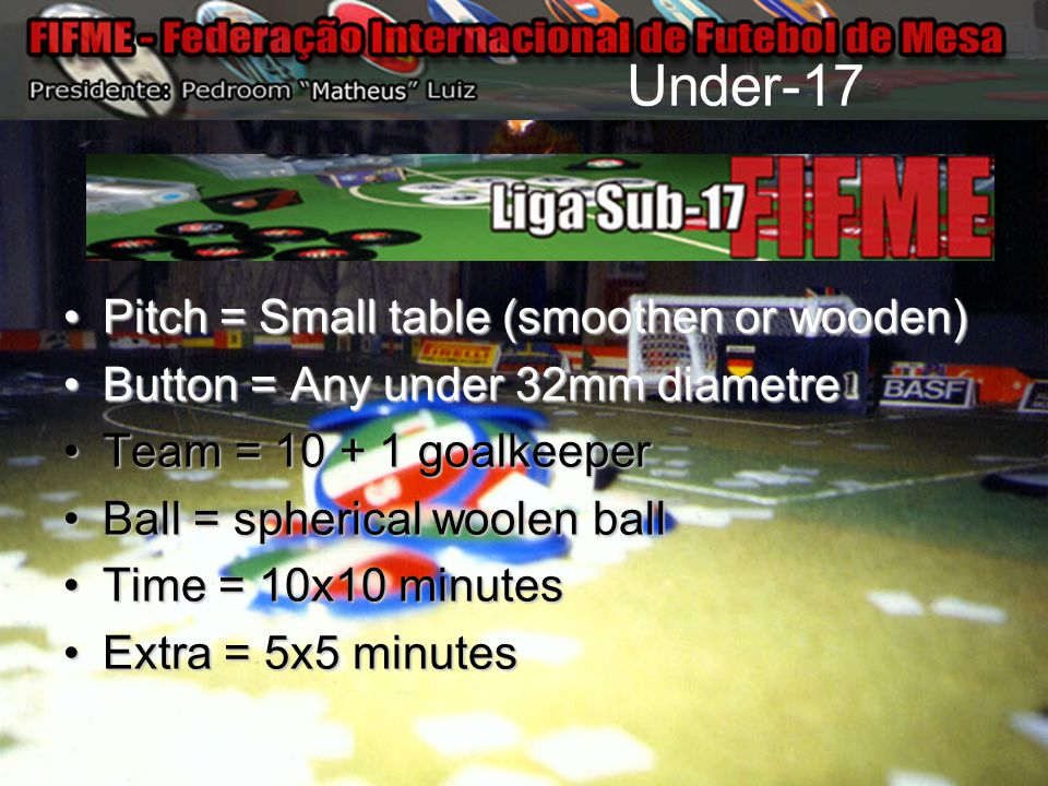 Under-17 Pitch = Small table (smoothen or wooden)Pitch = Small table (smoothen or wooden) Button = Any under 32mm diametreButton = Any under 32mm diam