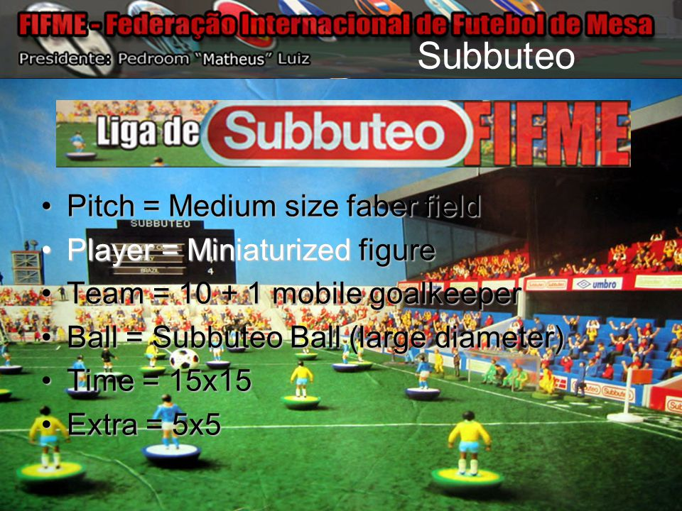 Subbuteo Pitch = Medium size faber fieldPitch = Medium size faber field Player = Miniaturized figurePlayer = Miniaturized figure Team = 10 + 1 mobile goalkeeperTeam = 10 + 1 mobile goalkeeper Ball = Subbuteo Ball (large diameter)Ball = Subbuteo Ball (large diameter) Time = 15x15Time = 15x15 Extra = 5x5Extra = 5x5