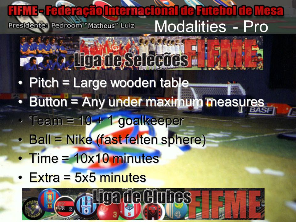 Modalities - Pro Pitch = Large wooden tablePitch = Large wooden table Button = Any under maximum measuresButton = Any under maximum measures Team = 10