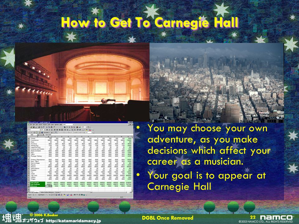 DGBL Once Removed 22 © 2006 K.Becker How to Get To Carnegie Hall You may choose your own adventure, as you make decisions which affect your career as a musician.