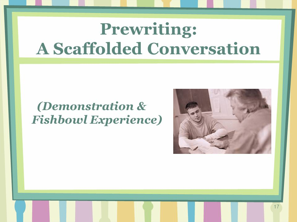 16 A Scaffolded Conversation is… Purpose: Designed to ensure the writer has rich ideas and language to think about and use in his/her writing.