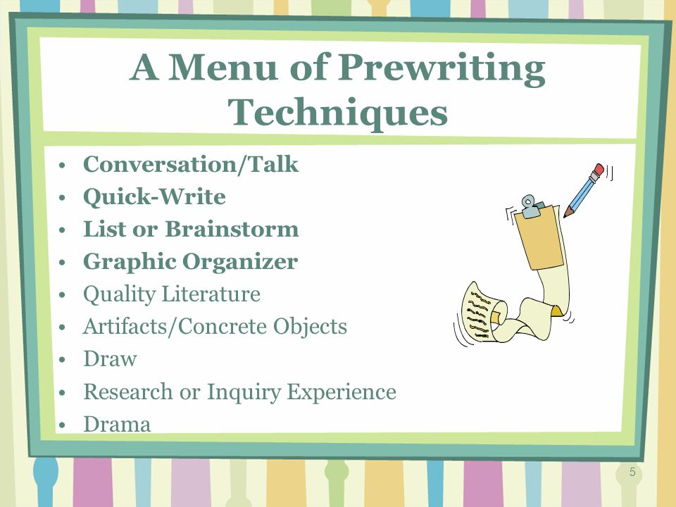 4 Prewriting Can occur during, as well as before, composition.