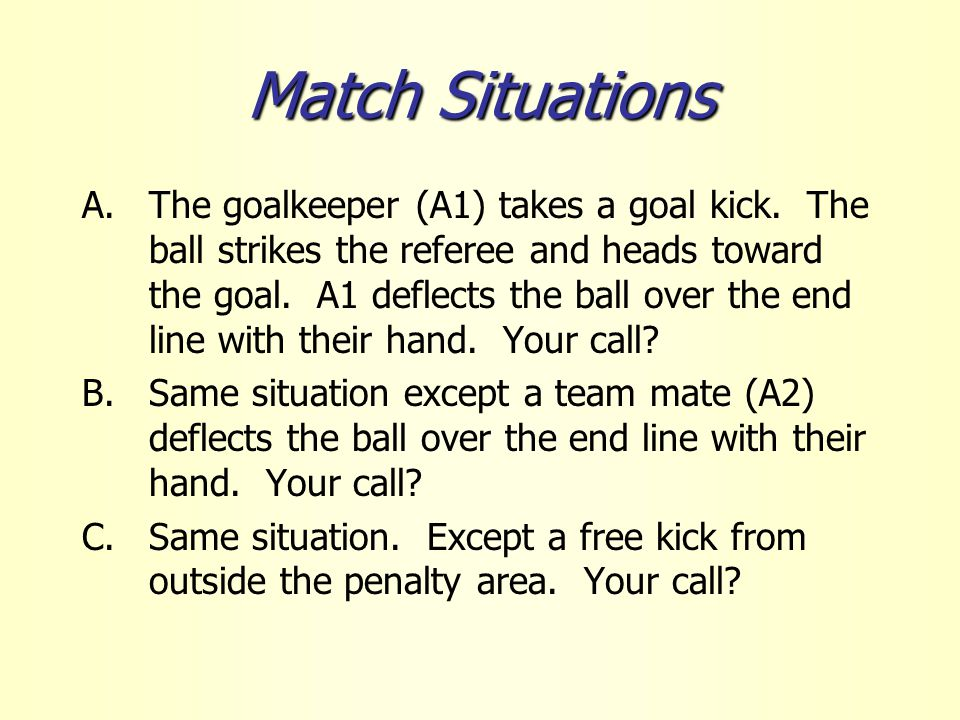 Match Situations A.The goalkeeper (A1) takes a goal kick.