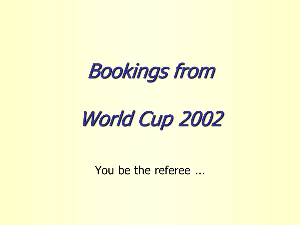Bookings from World Cup 2002 You be the referee...