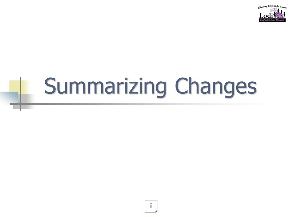 Summarizing Changes ii