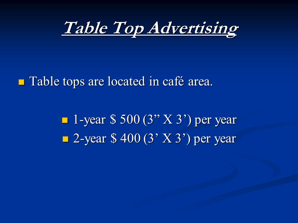 Table tops are located in café area. Table tops are located in café area.