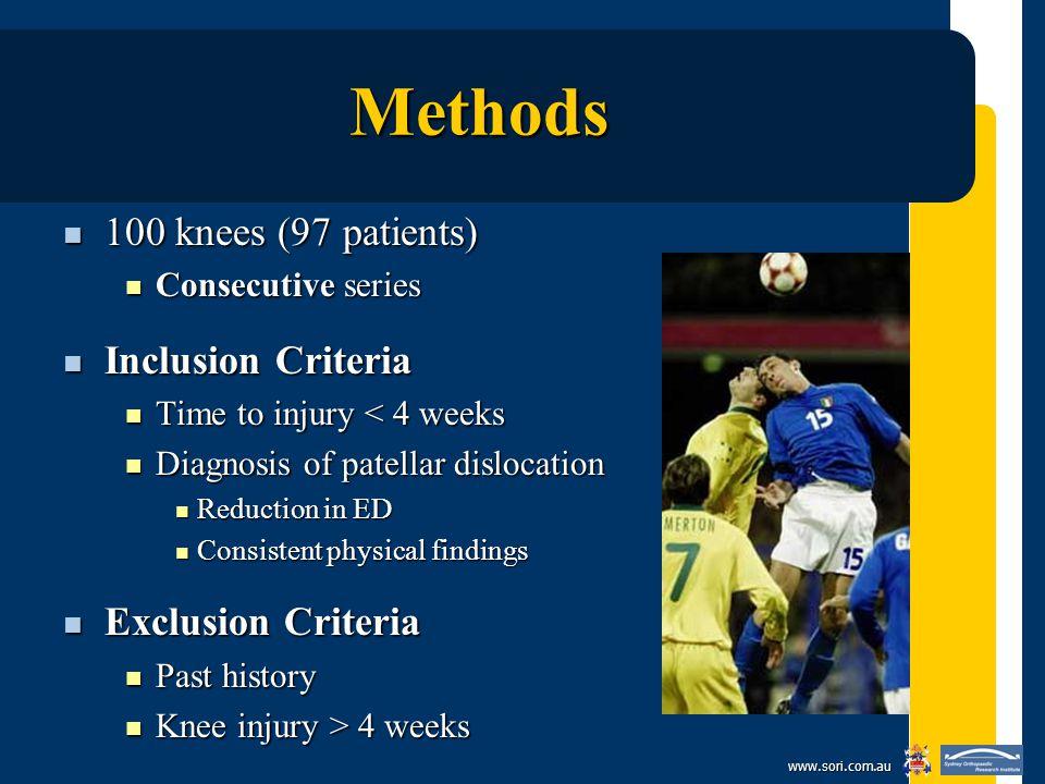 www.sori.com.au Methods 100 knees (97 patients) 100 knees (97 patients) Consecutive series Consecutive series Inclusion Criteria Inclusion Criteria Ti