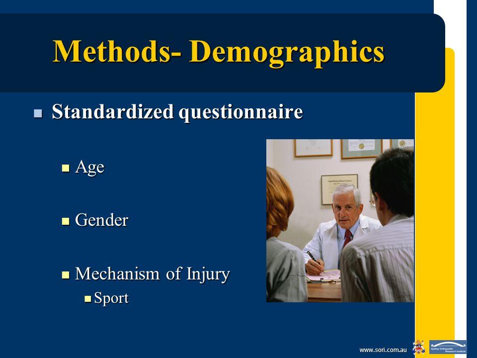 www.sori.com.au Methods- Demographics Standardized questionnaire Standardized questionnaire Age Age Gender Gender Mechanism of Injury Mechanism of Injury Sport Sport