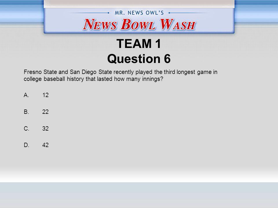 TEAM 1 Question 6 A. 12 B. 22 C. 32 D.