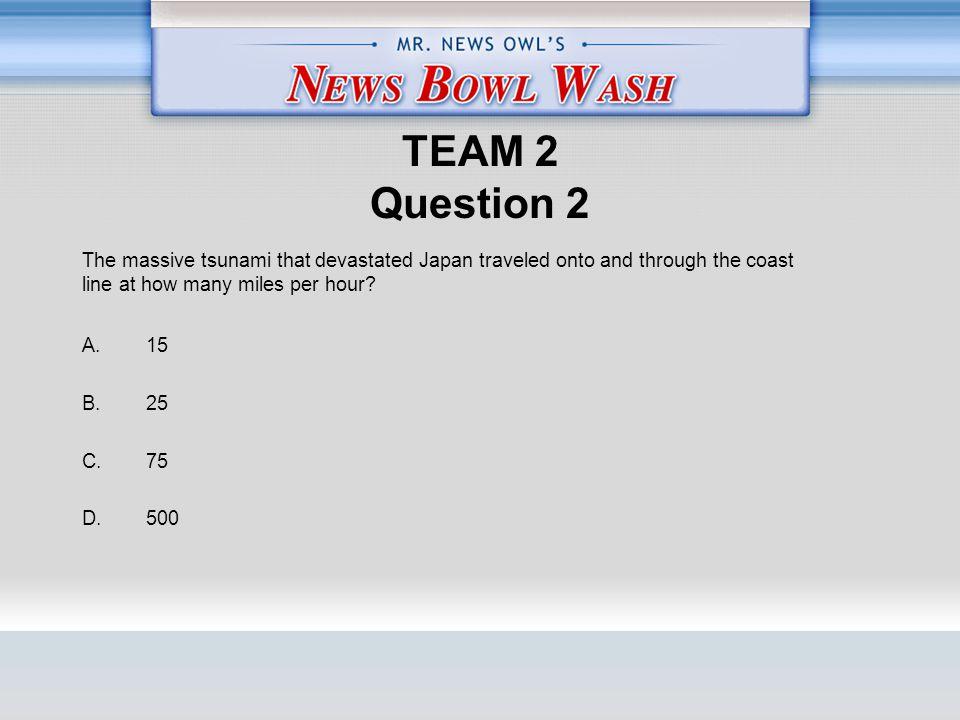 TEAM 2 Question 2 A. 15 B. 25 C. 75 D.