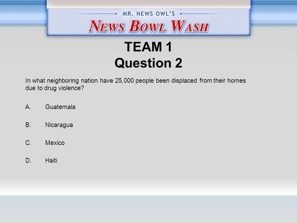 TEAM 1 Question 2 A. Guatemala B. Nicaragua C. Mexico D.