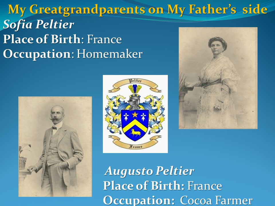 My Greatgrandparents on My Father's side Sofia Peltier Place of Birth: France Occupation: Homemaker Augusto Peltier Augusto Peltier Place of Birth: France Place of Birth: France Occupation: Cocoa Farmer Occupation: Cocoa Farmer
