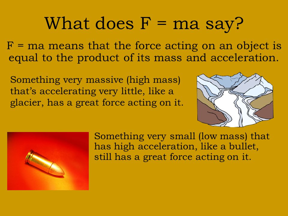 Newton's Second Law Force equals mass times acceleration. F = ma