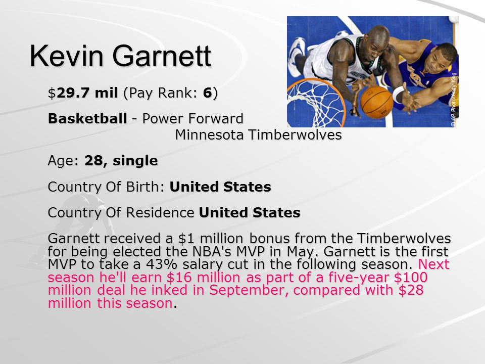 Kevin Garnett $29.7 mil (Pay Rank: 6) Basketball - Power Forward Minnesota Timberwolves Age: 28, single Country Of Birth: United States Country Of Residence United States Garnett received a $1 million bonus from the Timberwolves for being elected the NBA s MVP in May.