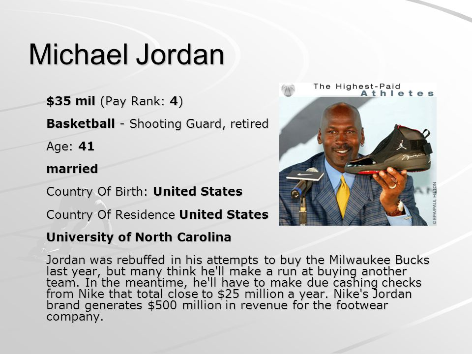 Michael Jordan $35 mil (Pay Rank: 4) Basketball - Shooting Guard, retired Age: 41 married Country Of Birth: United States Country Of Residence United States University of North Carolina Jordan was rebuffed in his attempts to buy the Milwaukee Bucks last year, but many think he ll make a run at buying another team.