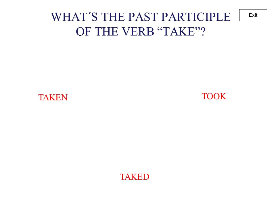 "WHAT´S THE PAST PARTICIPLE OF THE VERB ""FLY""? FLOWN FLEW FLYED Exit"