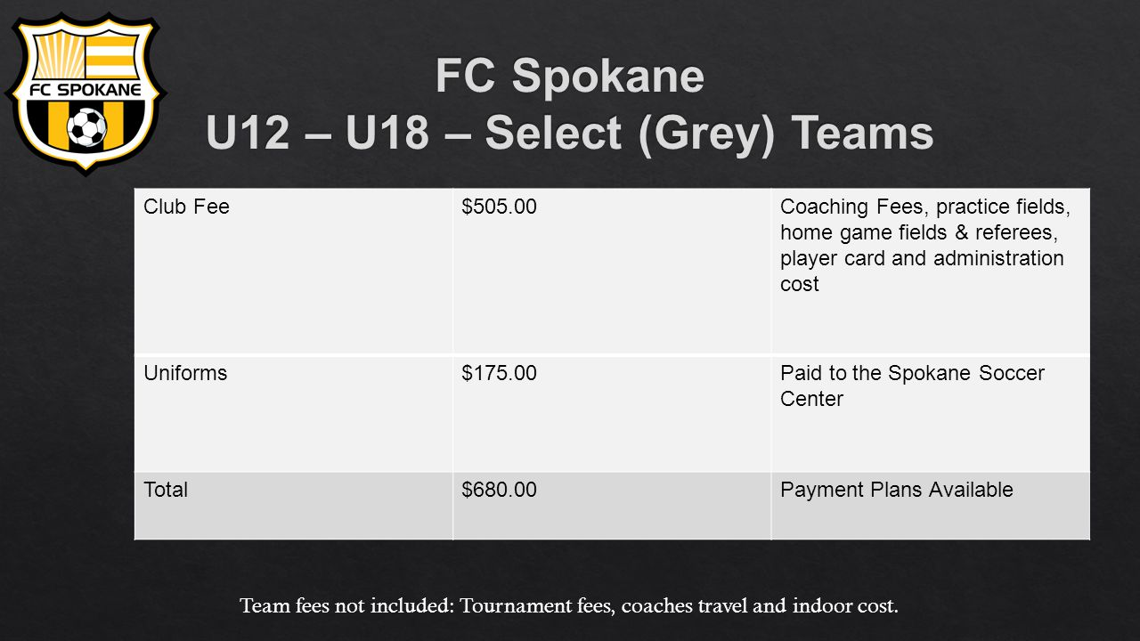 Club Fee$505.00Coaching Fees, practice fields, home game fields & referees, player card and administration cost Uniforms$175.00Paid to the Spokane Soccer Center Total$680.00Payment Plans Available Team fees not included: Tournament fees, coaches travel and indoor cost.