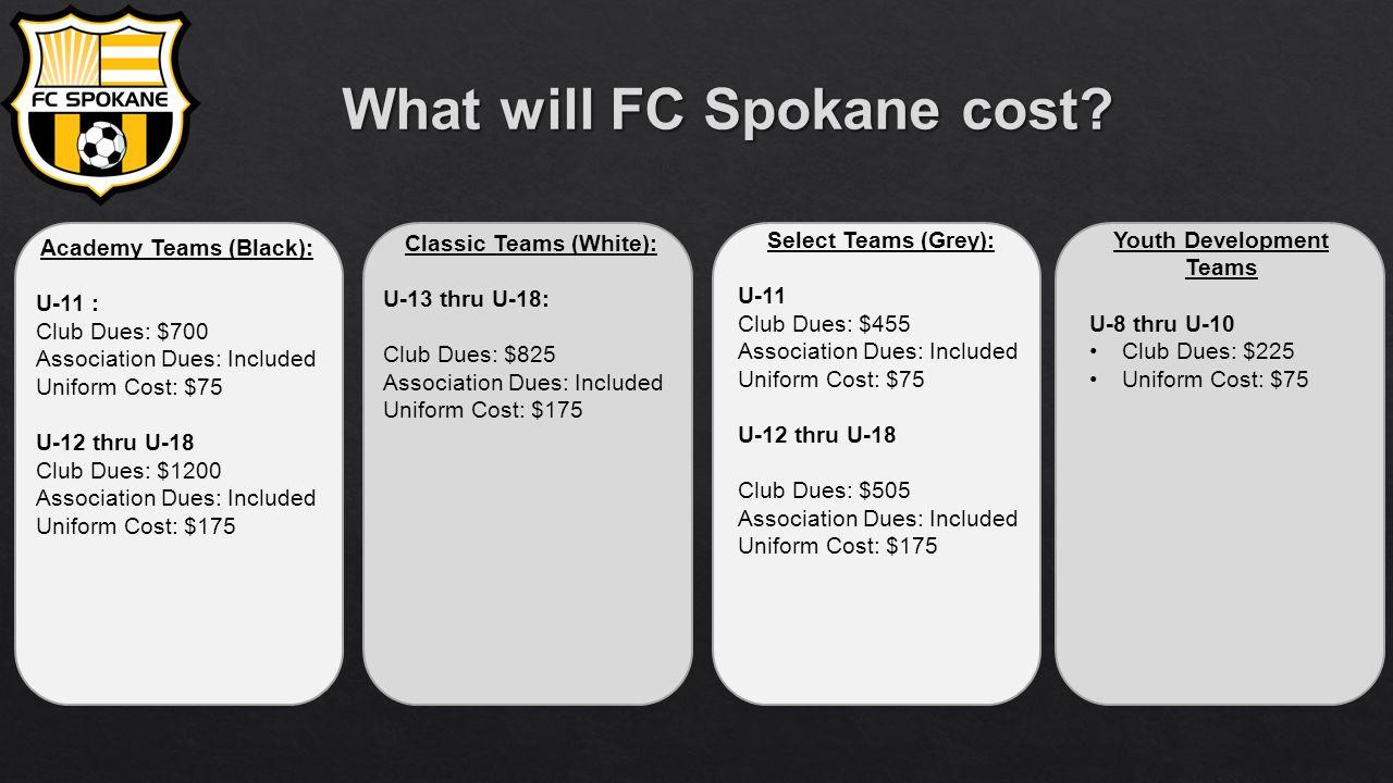 Academy Teams (Black): U-11 : Club Dues: $700 Association Dues: Included Uniform Cost: $75 U-12 thru U-18 Club Dues: $1200 Association Dues: Included Uniform Cost: $175 Classic Teams (White): U-13 thru U-18: Club Dues: $825 Association Dues: Included Uniform Cost: $175 Select Teams (Grey): U-11 Club Dues: $455 Association Dues: Included Uniform Cost: $75 U-12 thru U-18 Club Dues: $505 Association Dues: Included Uniform Cost: $175 Youth Development Teams U-8 thru U-10 Club Dues: $225 Uniform Cost: $75