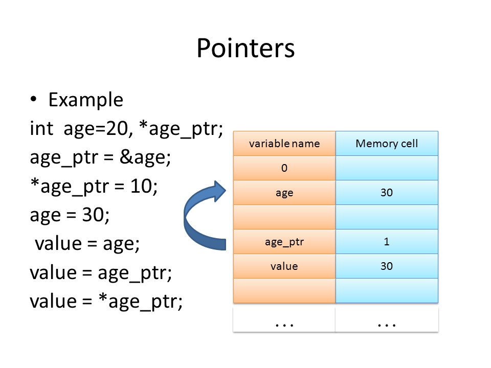Pointers Example int age=20, *age_ptr; age_ptr = &age; *age_ptr = 10; age = 30; value = age; value = age_ptr; value = *age_ptr; variable name Memory c