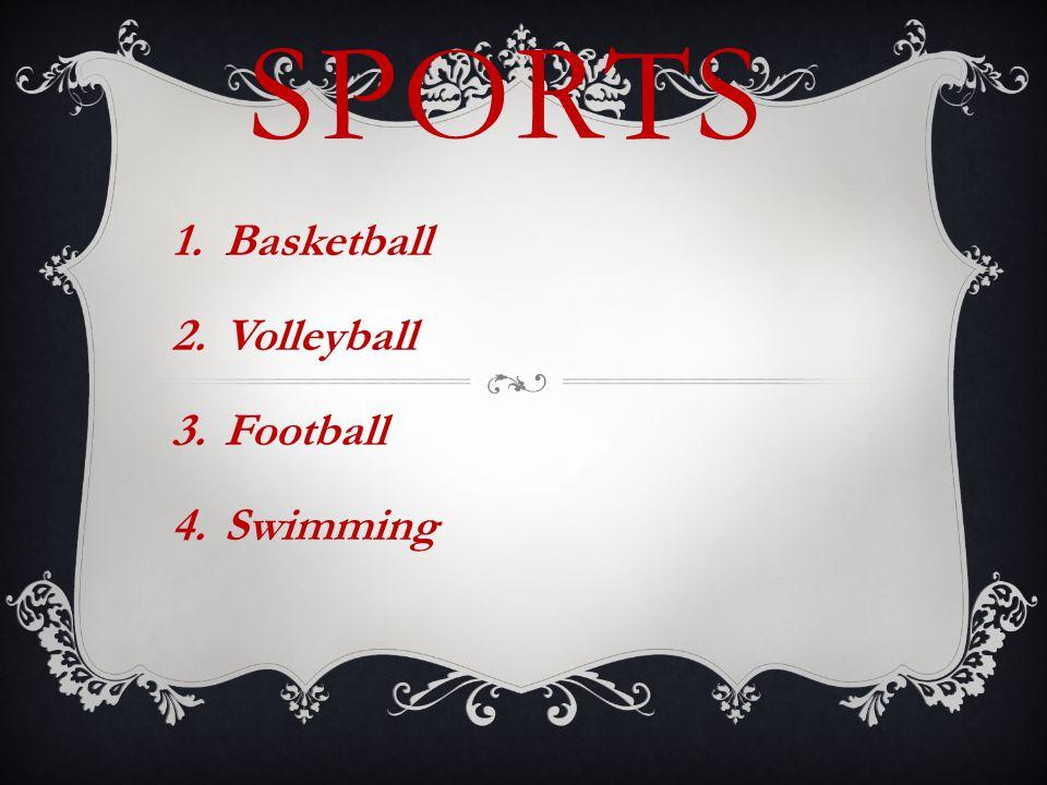 SPORTS 1.Basketball 2.Volleyball 3.Football 4.Swimming