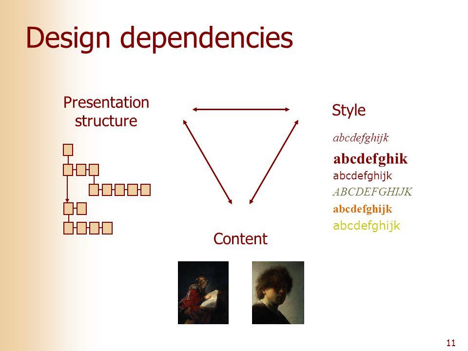 11 Design dependencies Content Presentation structure Style abcdefghijk abcdefghik abcdefghijk ABCDEFGHIJK abcdefghijk