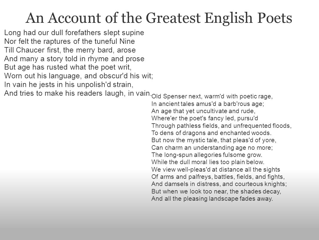 An Account of the Greatest English Poets Long had our dull forefathers slept supine Nor felt the raptures of the tuneful Nine Till Chaucer first, the merry bard, arose And many a story told in rhyme and prose But age has rusted what the poet writ, Worn out his language, and obscur d his wit; In vain he jests in his unpolish d strain, And tries to make his readers laugh, in vain.