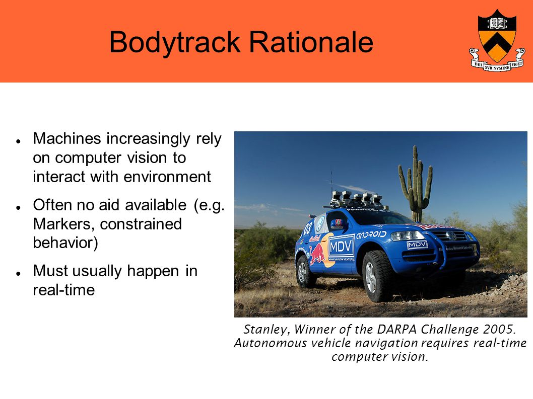 Bodytrack Rationale Machines increasingly rely on computer vision to interact with environment Often no aid available (e.g.
