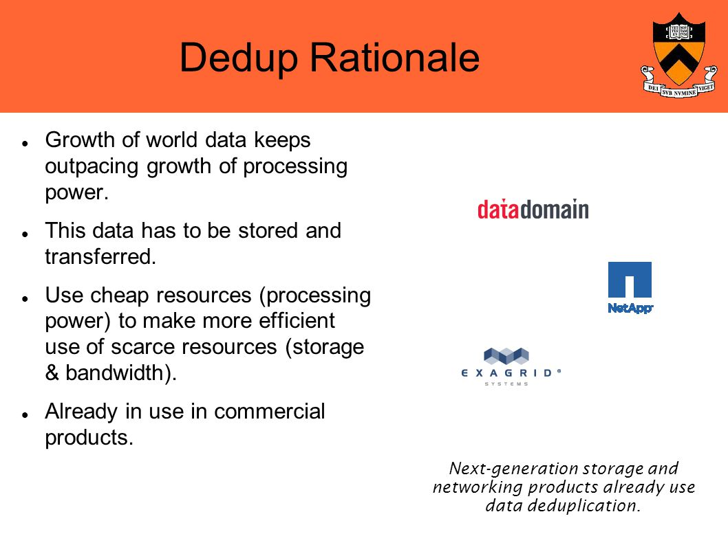 Dedup Rationale Growth of world data keeps outpacing growth of processing power.