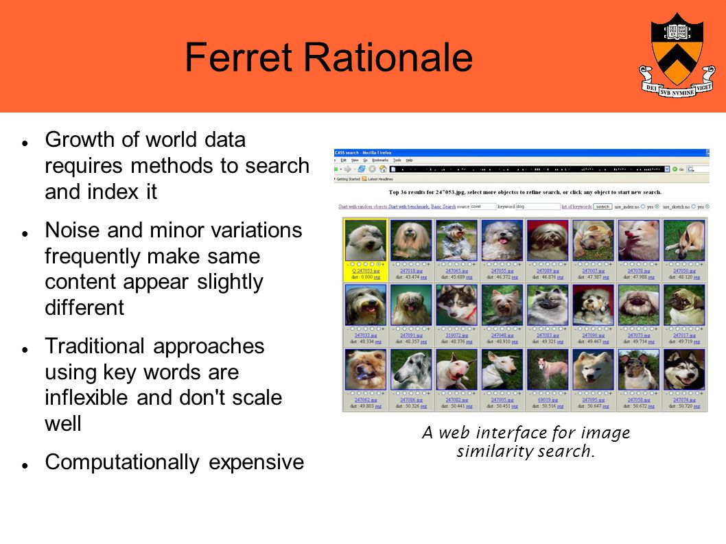 Ferret Rationale Growth of world data requires methods to search and index it Noise and minor variations frequently make same content appear slightly different Traditional approaches using key words are inflexible and don t scale well Computationally expensive A web interface for image similarity search.
