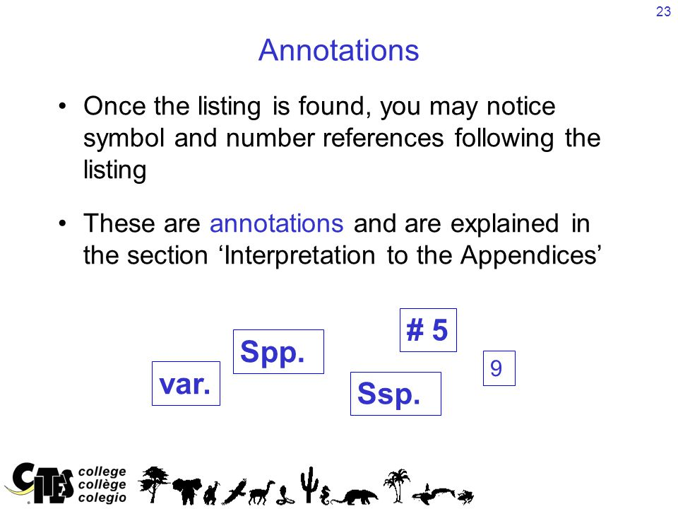23 Annotations Once the listing is found, you may notice symbol and number references following the listing These are annotations and are explained in