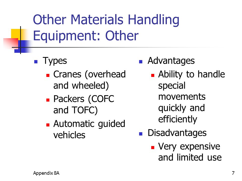 Appendix 8A7 Other Materials Handling Equipment: Other Types Cranes (overhead and wheeled) Packers (COFC and TOFC) Automatic guided vehicles Advantage