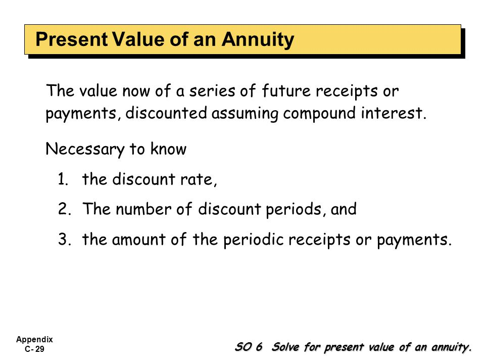 Appendix C- 29 The value now of a series of future receipts or payments, discounted assuming compound interest.