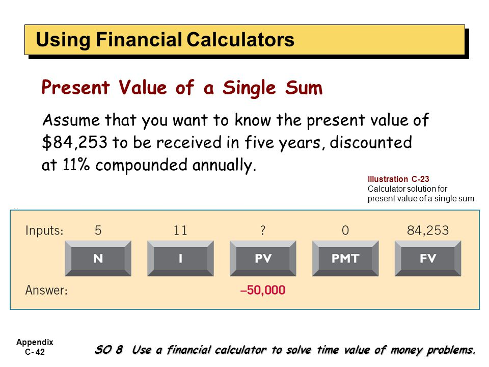 Appendix C- 42 SO 8 Use a financial calculator to solve time value of money problems.