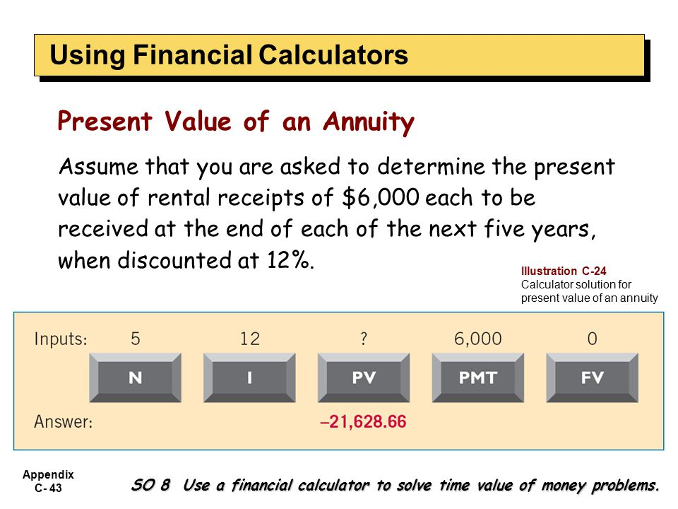 Appendix C- 43 SO 8 Use a financial calculator to solve time value of money problems.