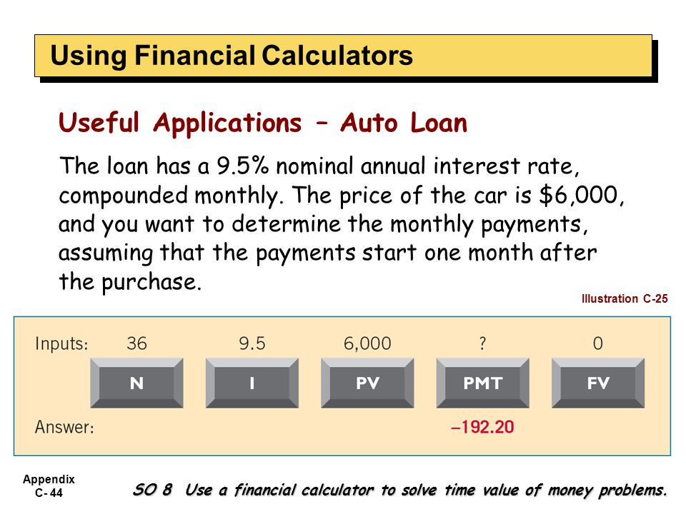 Appendix C- 44 SO 8 Use a financial calculator to solve time value of money problems.