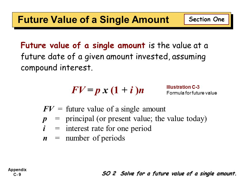 Appendix C- 9 SO 2 Solve for a future value of a single amount. Future value of a single amount is the value at a future date of a given amount invest
