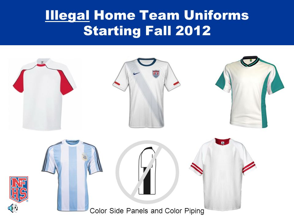 Illegal Home Team Uniforms Starting Fall 2012 Color Side Panels and Color Piping