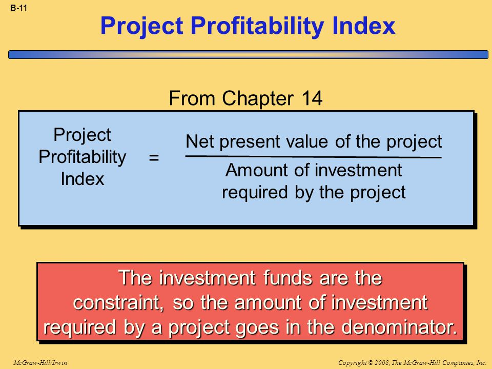 Copyright © 2008, The McGraw-Hill Companies, Inc.McGraw-Hill/Irwin B-11 Project Profitability Index Net present value of the project Amount of investment required by the project = The investment funds are the constraint, so the amount of investment required by a project goes in the denominator.