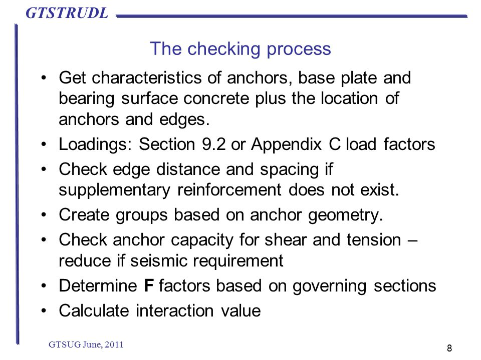 GTSTRUDL The checking process Get characteristics of anchors, base plate and bearing surface concrete plus the location of anchors and edges.