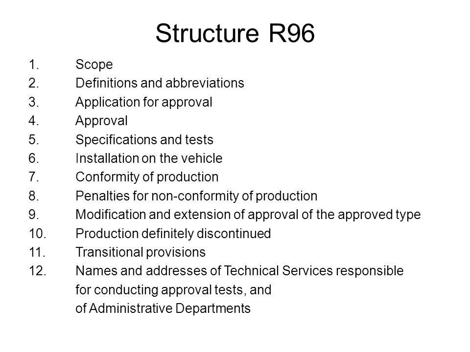Structure R96 cont.Annex 1A Information document {added as in R49, R120 and Dir.