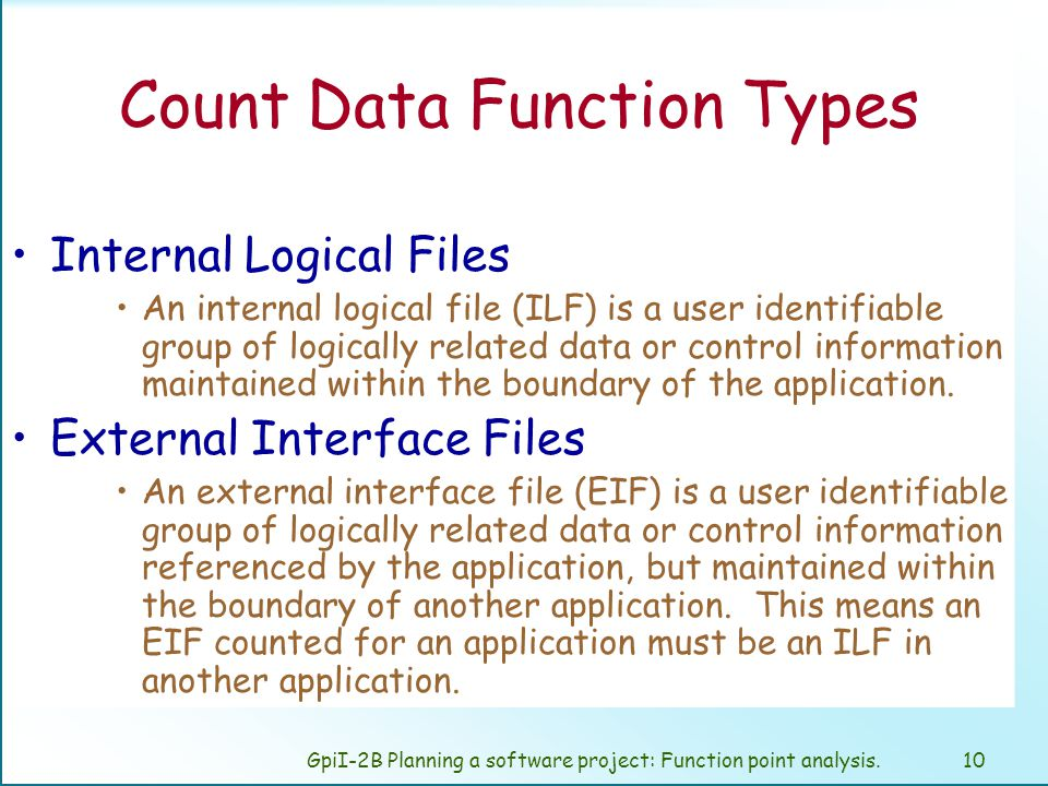 GpiI-2B Planning a software project: Function point analysis.9 Unadjusted Function Point Data Function Types Transactional Function Types Internal Logical Files External Logical Files External Inputs External Outputs External Inquires
