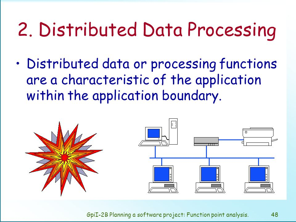 GpiI-2B Planning a software project: Function point analysis.47 Descriptions to Determine Degree of Influence 3 Application includes online data collection or TP (teleprocessing) front end to a batch process or query system.