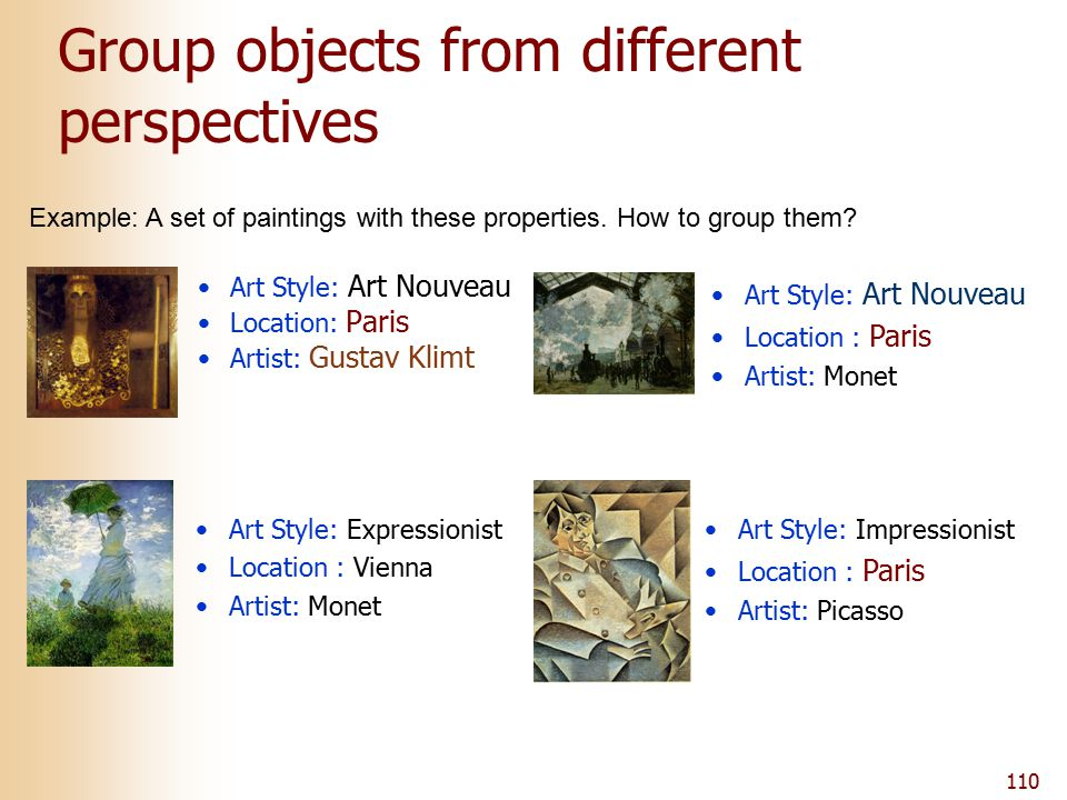 110 Group objects from different perspectives Art Style: Art Nouveau Location: Paris Artist: Gustav Klimt Art Style: Expressionist Location : Vienna Artist: Monet Art Style: Art Nouveau Location : Paris Artist: Monet Art Style: Impressionist Location : Paris Artist: Picasso Example: A set of paintings with these properties.
