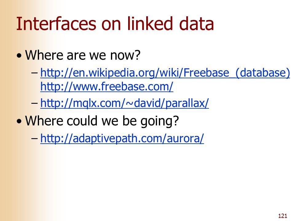 Interfaces on linked data Where are we now? –http://en.wikipedia.org/wiki/Freebase_(database) http://www.freebase.com/http://en.wikipedia.org/wiki/Fre