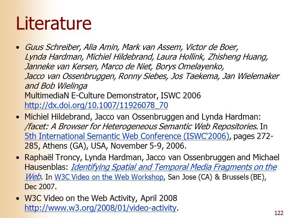 122 Literature Guus Schreiber, Alia Amin, Mark van Assem, Victor de Boer, Lynda Hardman, Michiel Hildebrand, Laura Hollink, Zhisheng Huang, Janneke van Kersen, Marco de Niet, Borys Omelayenko, Jacco van Ossenbruggen, Ronny Siebes, Jos Taekema, Jan Wielemaker and Bob Wielinga MultimediaN E-Culture Demonstrator, ISWC 2006 http://dx.doi.org/10.1007/11926078_70 http://dx.doi.org/10.1007/11926078_70 Michiel Hildebrand, Jacco van Ossenbruggen and Lynda Hardman: /facet: A Browser for Heterogeneous Semantic Web Repositories.