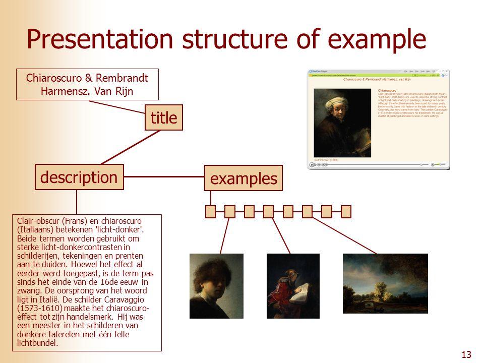 13 Presentation structure of example Clair-obscur (Frans) en chiaroscuro (Italiaans) betekenen licht-donker .
