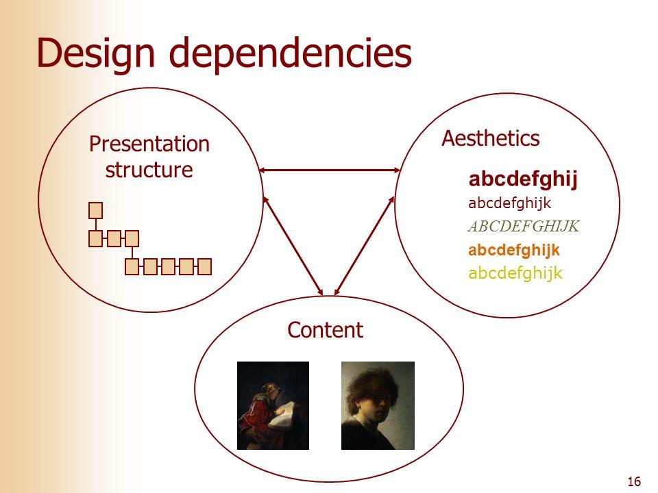 16 Design dependencies Content Presentation structure Aesthetics abcdefghij abcdefghijk ABCDEFGHIJK abcdefghijk