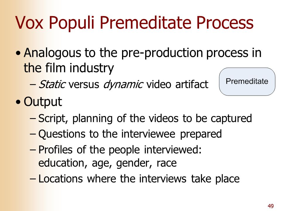 49 Vox Populi Premeditate Process Analogous to the pre-production process in the film industry –Static versus dynamic video artifact Output –Script, p