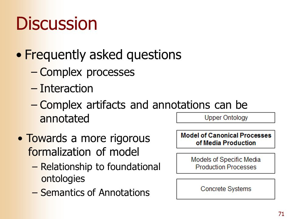 71 Discussion Frequently asked questions –Complex processes –Interaction –Complex artifacts and annotations can be annotated Towards a more rigorous f
