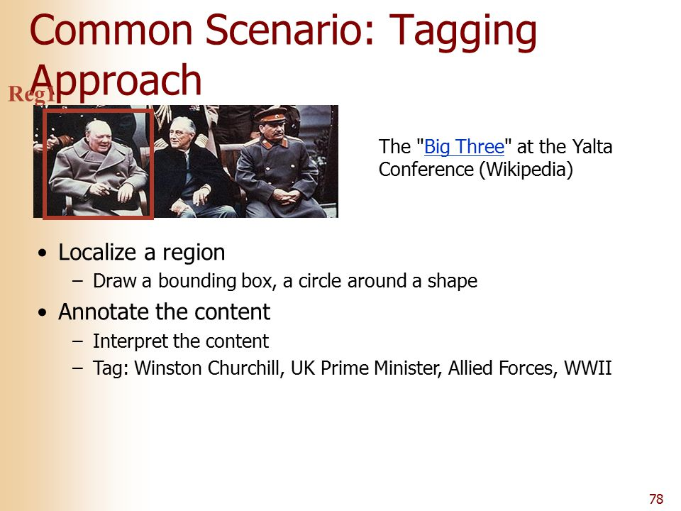 78 Common Scenario: Tagging Approach The